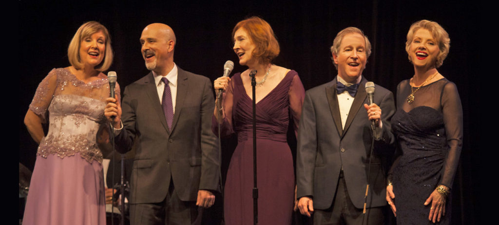 Carol McCluer, Alan Shapiro, Carrie Wilson, Bennett Cooperman, & Marion Fennell—singers with the Aesthetic Realism Theatre Company—performing the 2016 Gala Cabaret.
